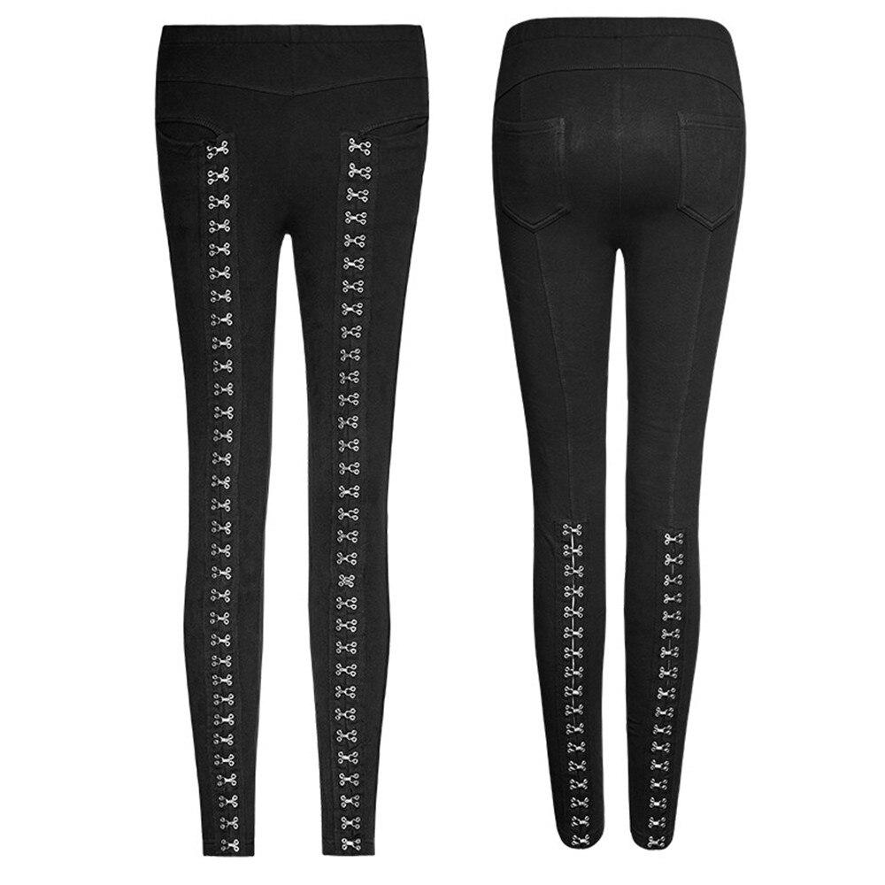 Punk gothique épissure femmes Leggings taille élastique Sexy Leggings en cuir épissure évider Leggings Skinny - 5