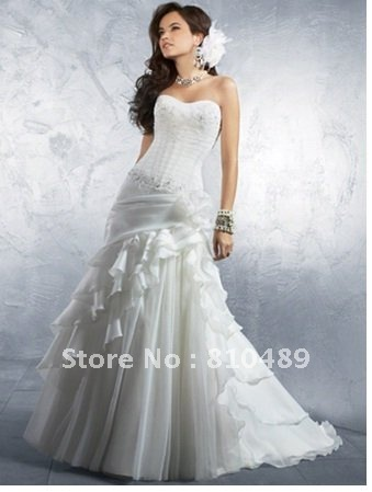 2012 New Designer A-line Ruffles Organza Wedding dress