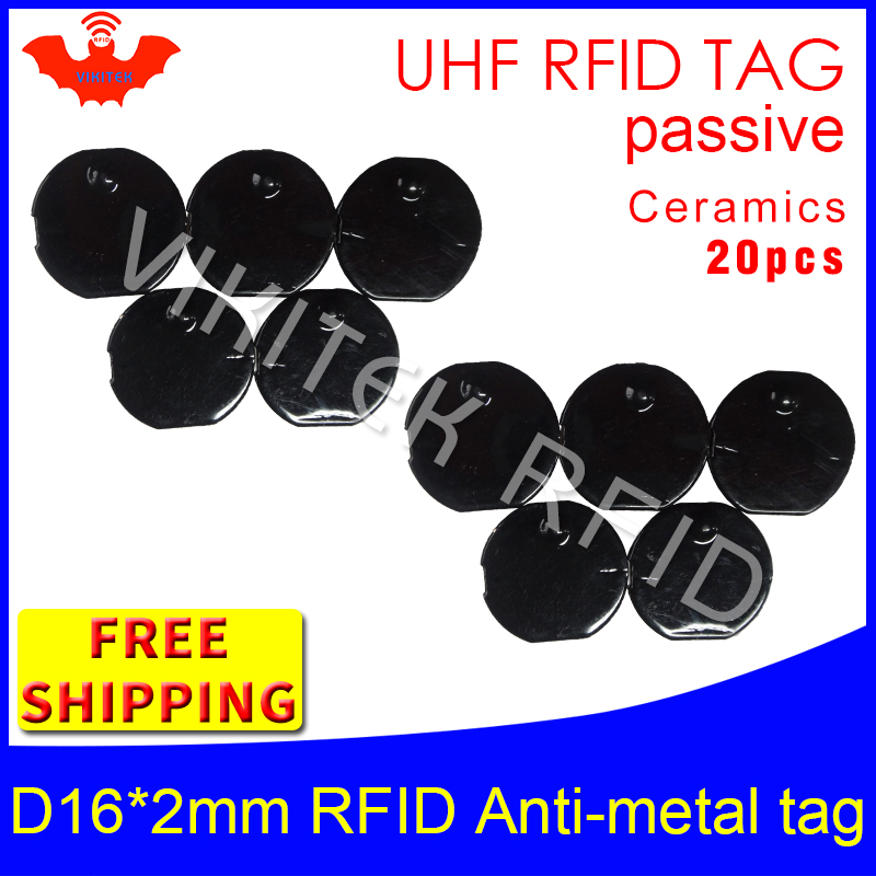 UHF RFID metal tag 915m 868m EPC 6c 20pcs free shipping tools management D16mm*2mm micro circular Ceramics passive RFID tags uhf rfid metal tag 915m 868m epc iso18000 6c 20pcs free shipping tools management 12 7 1 2mm thin ceramics passive rfid tags