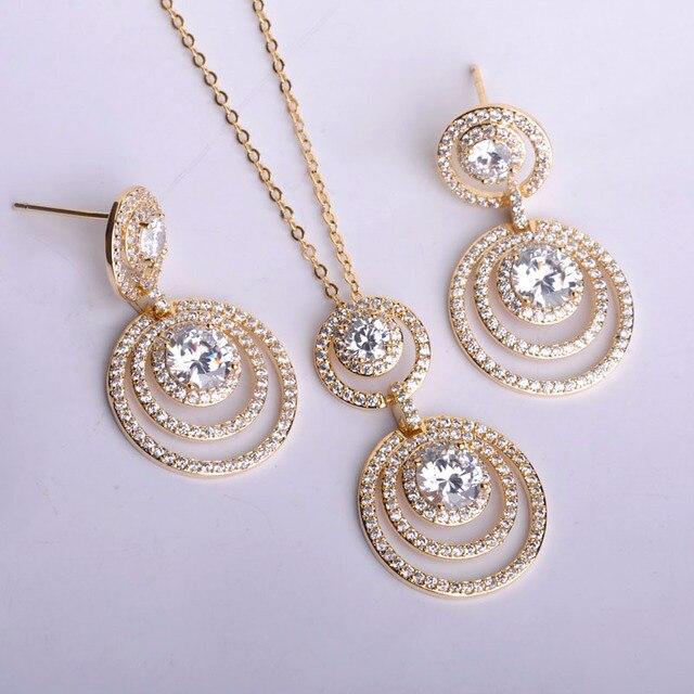 Luxury Zircon Copper Multi-round Jewelry Sets Pendant Necklace&Earrings Women Ethnic Gold Color Wedding ensembles de Bijoux
