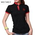 2016 impresión de la manera mujeres de la camiseta del cuello de V del collar del soporte delgado camiseta de las mujeres a estrenar Negro Rojo Tees T Shirt Femme algodón más el tamaño 3036
