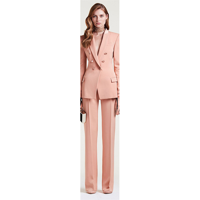 18-1 Jacket+Pants Womens Business Suit Female Office Uniform Ladies Formal Trouser Suit Double Breasted Womens Tuxedo Custom