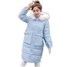 2016 Winter New Women cotton jacket long section thicker down cotton coat fur collar jacket casual warm Parka plus size 3colors