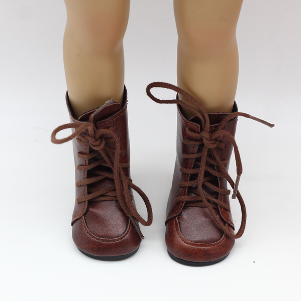 Fashion Boots For 18 American girl Doll Clothes Vintage Brown Boots Popular Dolls Accessories american girl doll clothes superman and spider man cosplay costume doll clothes for 18 inch dolls baby doll accessories d 3