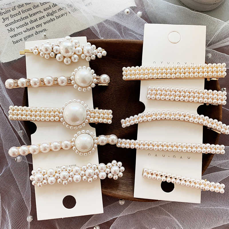 Korea Vintage Imitation Pearl Hairpins Hair Clips for Women Girls Flower Shape Wedding Hair Accessories Long Short Barrettes