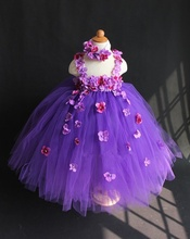 цена на Lovely Girls Purple Flowers Long Tutu Dress Kids Fluffy Crochet Tulle Tutus Ball Gown with Headband Children Party Lace Dresses