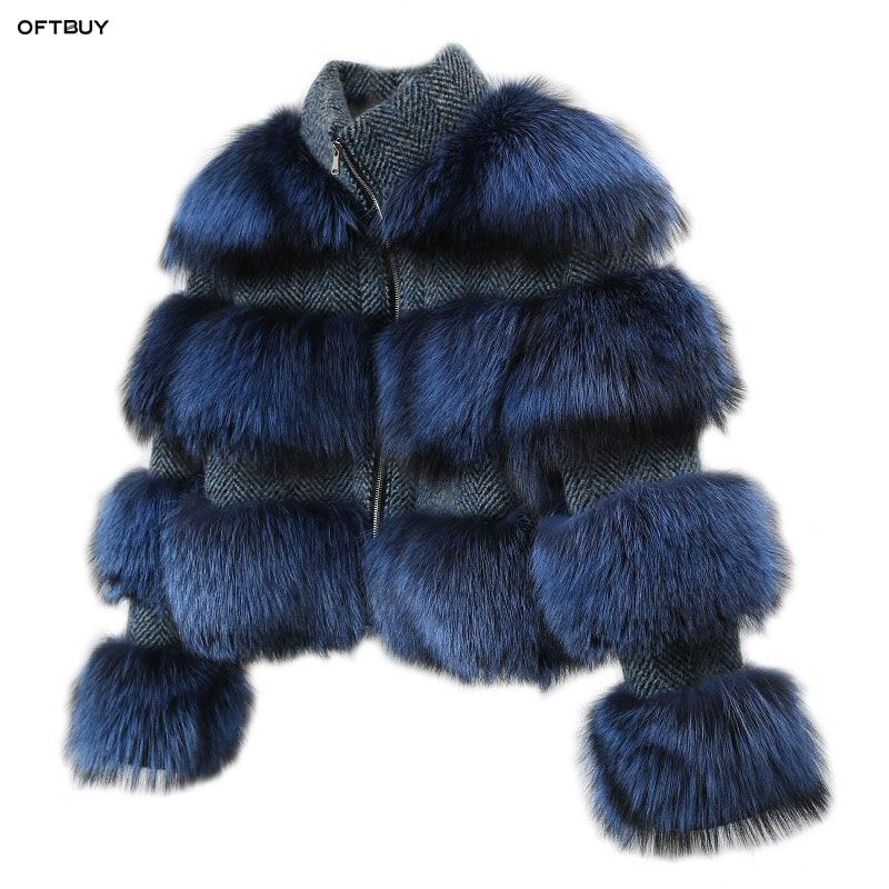 OFTBUY 2019 Winter Jacket Women Parka Real Fur Coat Natural Raccoon Fur Collar Woolen Coat Bomber Jacket Korean Streetwear Blue