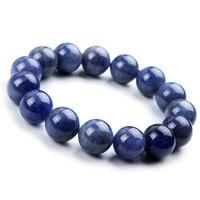 14mm Genuine 100% Natural Tanzanite Blue Gemstone Bracelet Round Beads Stretch Woman Beads Man Crystal Party Bracelet AAAAA