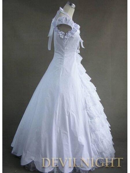 Классическое белое платье с кружевом и бантом в готическом викторианском стиле, платья размера плюс