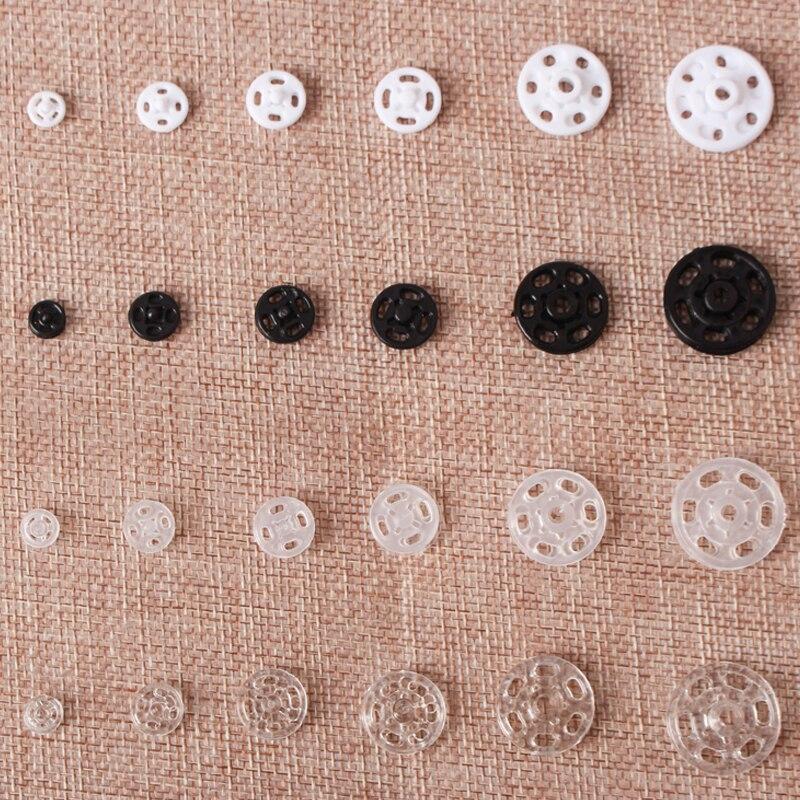 Бесплатная доставка, 100 шт., 7 мм/10 мм/11,5 мм/15 мм/18 мм/21 мм, невидимые пластиковые защелки, кнопки, аксессуары для шитья DIY