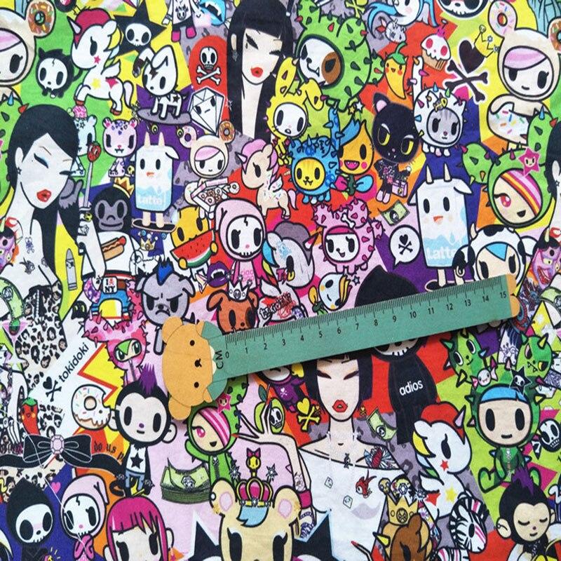 d4338e2cc Moda japonesa tela de algodón de dibujos animados Amoy raro unicornio tela  Impresión Digital costura Patchwork de la ropa de los niños vestido de en  Tela de ...