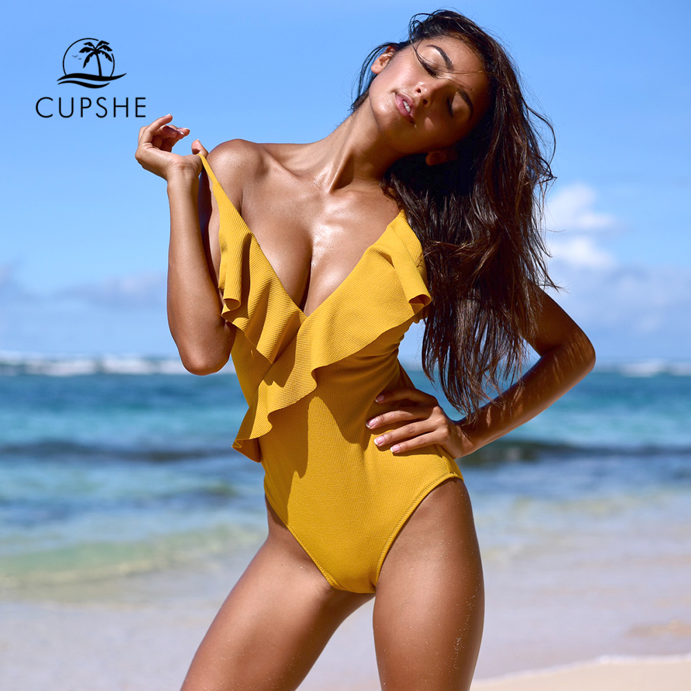 CUPSHE Happy Ending Yellow Solid One-piece Swimsuit Falbala V neck Ruffle Sexy Monokini 2019 Ladies Beach Bathing Suit Swimwear(China)