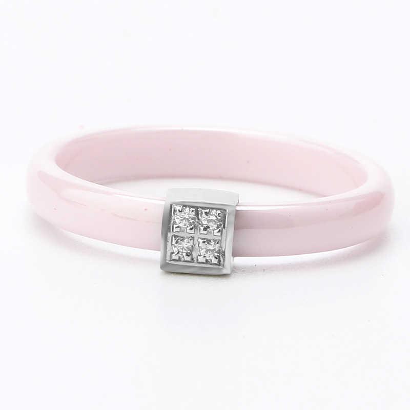 ใหม่สีชมพูแหวนคริสตัล 3 มม. สีชมพูเซรามิคแหวนสแตนเลสยื่นออกมา Square แหวนผู้หญิง Rhinestone สำหรับเครื่องประดับหญิง