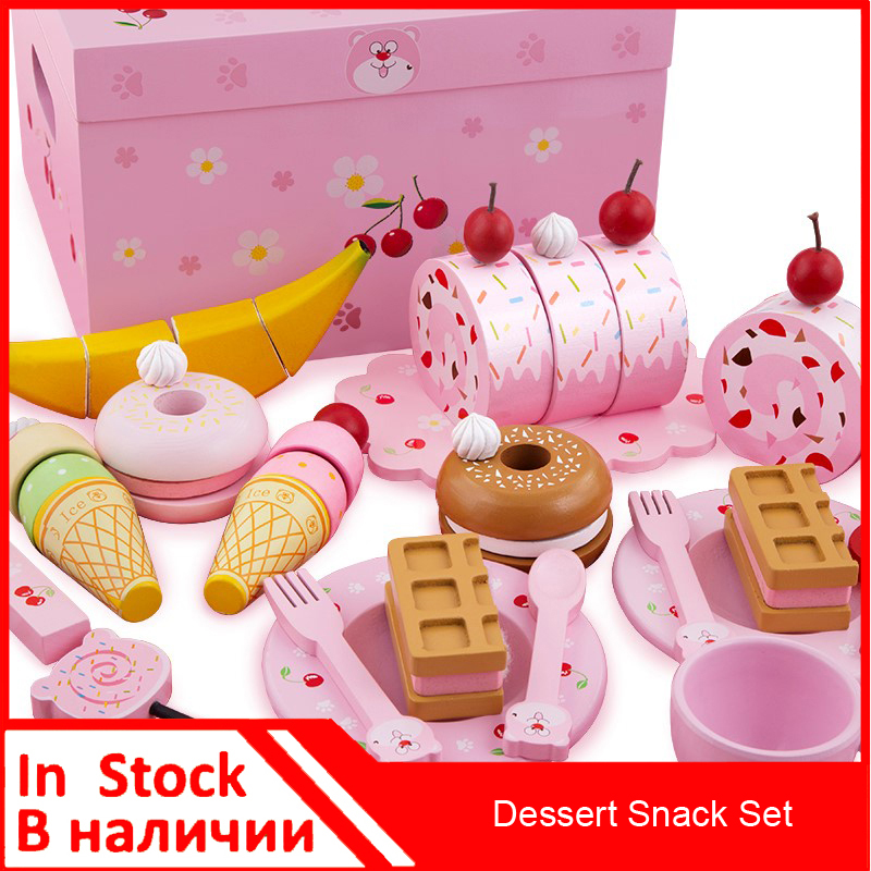 ##Onshine Wood Cherry Bear Dessert Snack Set Pretend Play Kitchen Toys Food Fruits Cakes Refreshments mother garden high quality wood toy wind story green tea wooden kitchen toys set