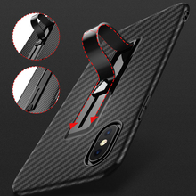 Ring Holder Case For iPhone XS Max XR XS Carbon Fiber Pattern Soft Stretchable Kickstand Stand Cover For iPhone 7 8 X 6 6S Plus