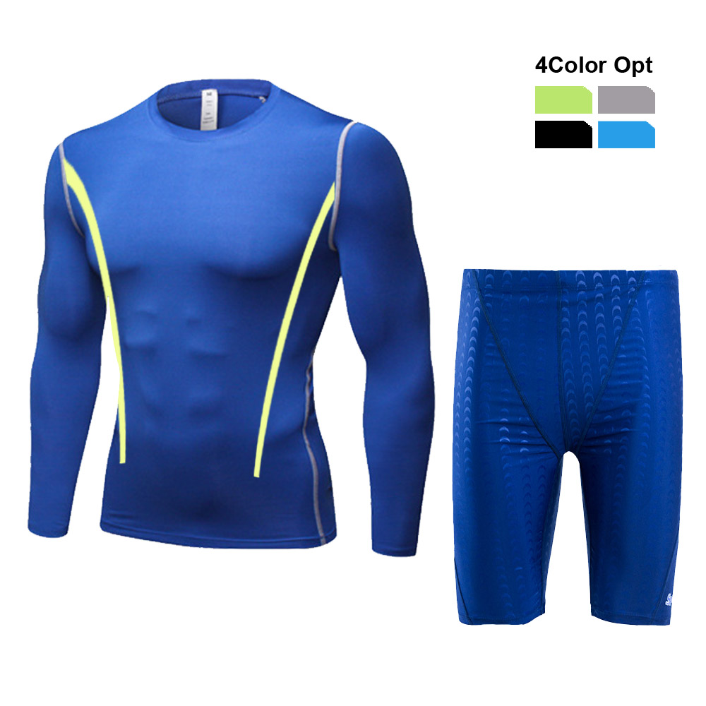 Men Boy Swim Top T Shirt Trunks Boxers Shorts Swimwear Short Pants SwimSuit Swimming Wear Long Sleeves for Beach Spa Pool Tvfd in Body Suits from Sports Entertainment