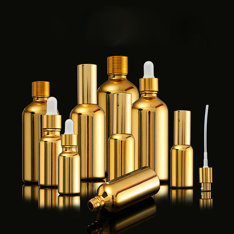 5-100ml Portable Gold Glass Essential Oil Bottles Lotion Pump Atomizer Spray Bottle Dropper Bottle Vial Cosmetic Serum Packaging