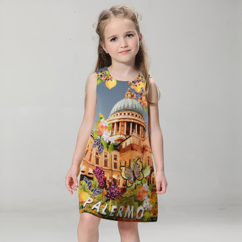 Sun Moon Kids Girl Dress Summer 2017 Castle Print Kids Dresses For Girls Clothes Sleeveless Casual Children Clothing sun moon kids boys t shirt summer