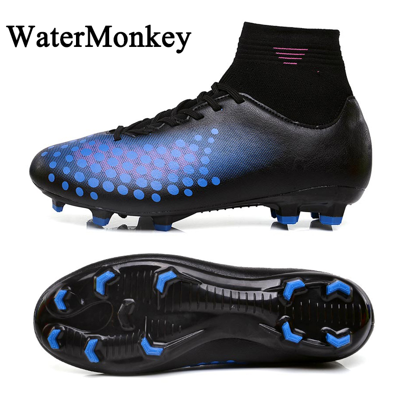 WaterMonkey Fashion Adult Soccer Shoes Outdoors Grass Soccer Boot Long Spike Football Shoes Cleats Shoes High Top Football Boots(China)