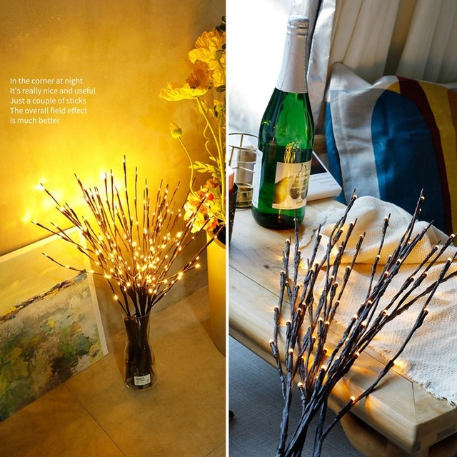 LED Willow Branch Lamp Floral Lights 20 Bulbs Home Party Garden Decor Christmas Birthday Gift gifts Desktop Decoration Lights 5