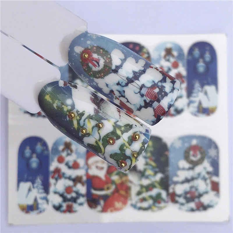 YZWLE Natal Presente de Ano Novo de Neve Flor Etiqueta Do Prego Da Arte Do Prego Marca D' Água Decorações Dicas Tatuagens Água