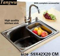 אופנה יצירתיים בtangwu כיור מטבח 304 נירוסטה באיכות מזון הכולל מתיחה חריץ יחיד 59X42X20 CM