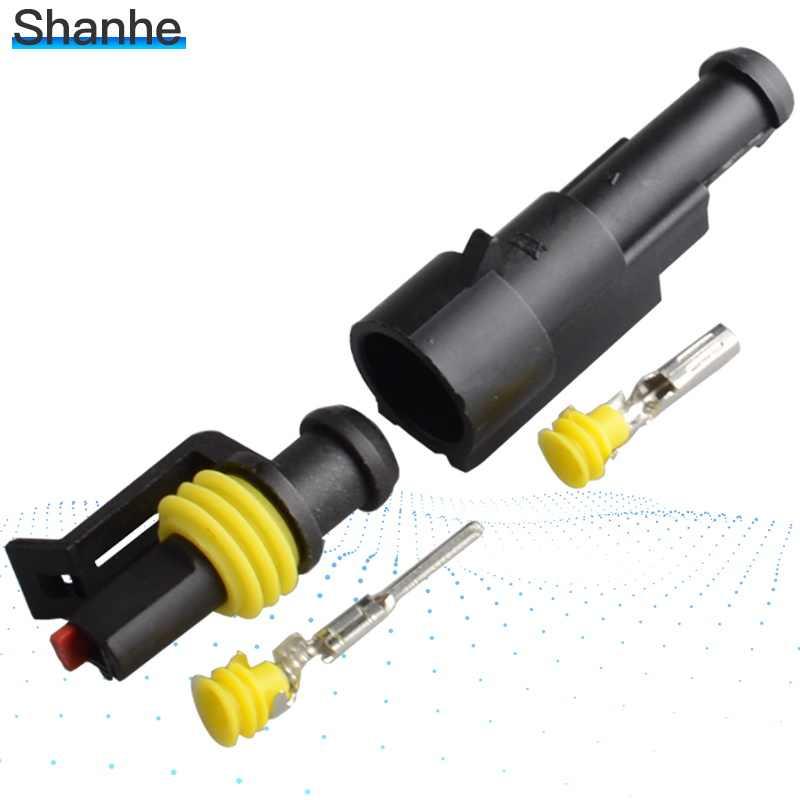 1-5Set Kit 2 pin 1/2/3/4/5/6 pin Cara AMP Super seal Tahan Air Konektor Kawat Listrik untuk mobil tahan air konektor