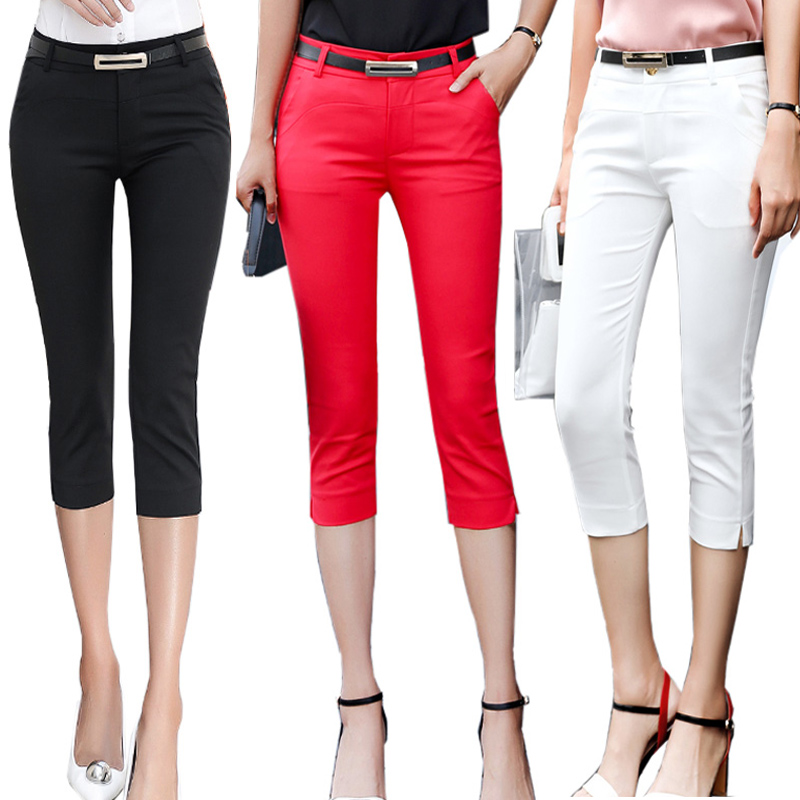 Pants Women Summer Skinny Breeches Cropped Trousers High Waist Office Lady Slim Capris Pantalon Femme Woman Bodycon Pencil Pant