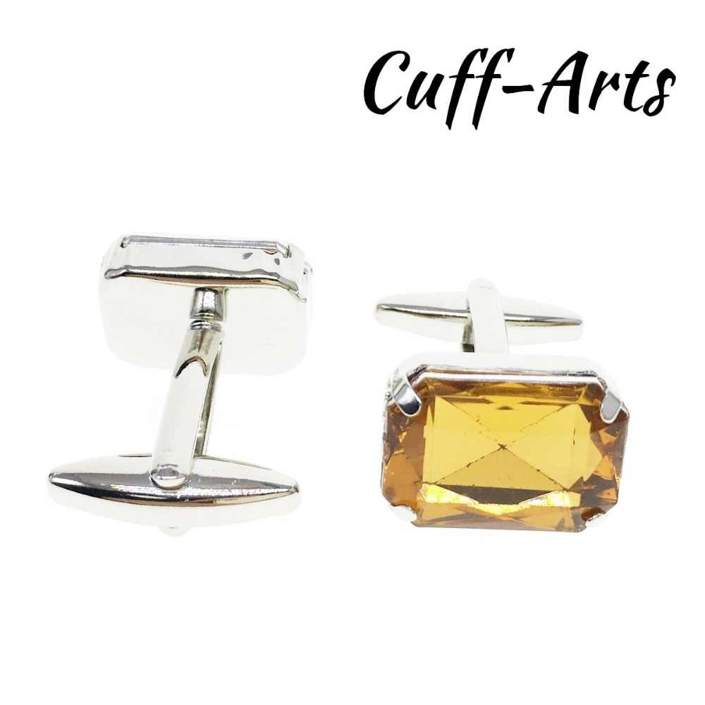 Cuffarts ผู้ชาย CuffLinks สีเหลืองอะคริลิคคริสตัล 2018 คลาสสิกเครื่องประดับโลหะแขนเสื้อ Cufflinks สำหรับสุภาพบุรุษ C20147