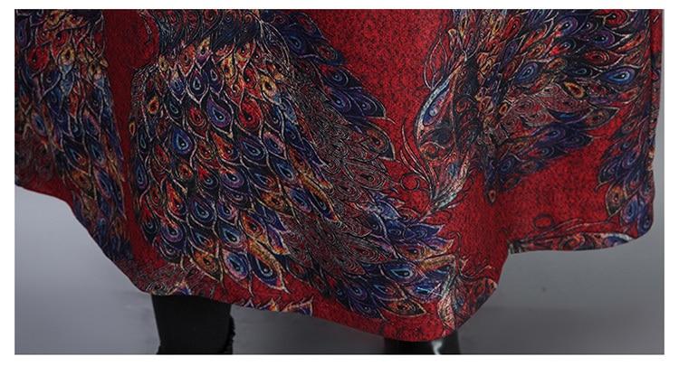 2019 New Women Spring Autumn Dresses Turtleneck Printed Female Long Sleeve Vintage Robe Dress Vestido 80