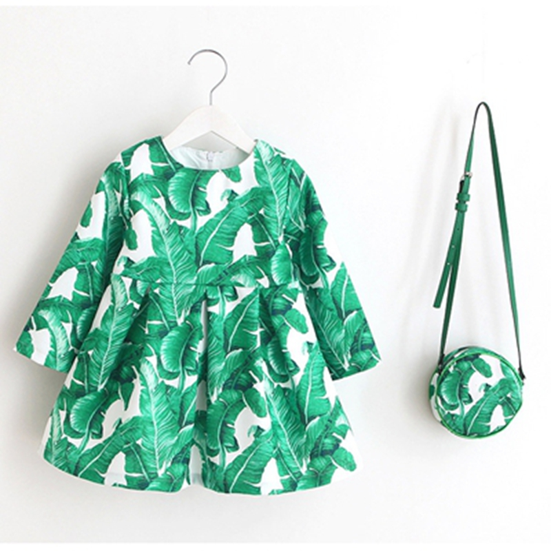 2017 autumn Baby girl with long sleeves dress Brand floral print Girl clothes sweet and lovely