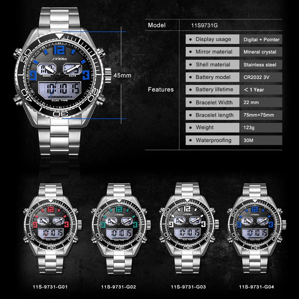 SINOBI sportski modni sat muškarci dvojni zaslon analogni digitalni - Muški satovi - Foto 2