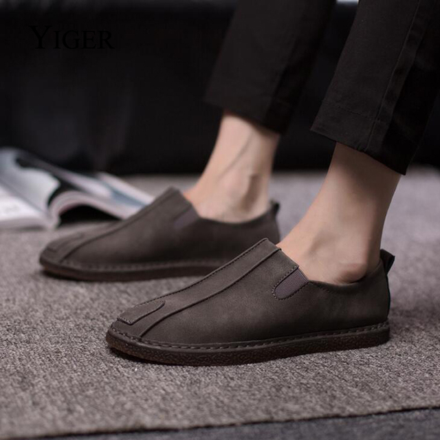 YIGER NEW Men's Casual Shoes Loafers Peas Shoes Lazy Shoes Breathable Casual Shoes Solid Slip-on  0043