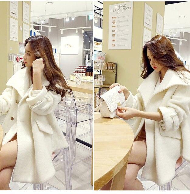 2016 Nueva Lindo de Las Mujeres Combina Abrigo Largo Mantener Caliente Flojo de Lana Malestar Abrigos Abrigos de Arroz Blanco 9119