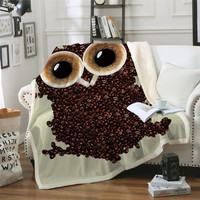 3D Cute Owl Velvet Plush Throw Blanket Coffee Beans Sherpa Blanket for Couch Beds Animal cobertor para inverno