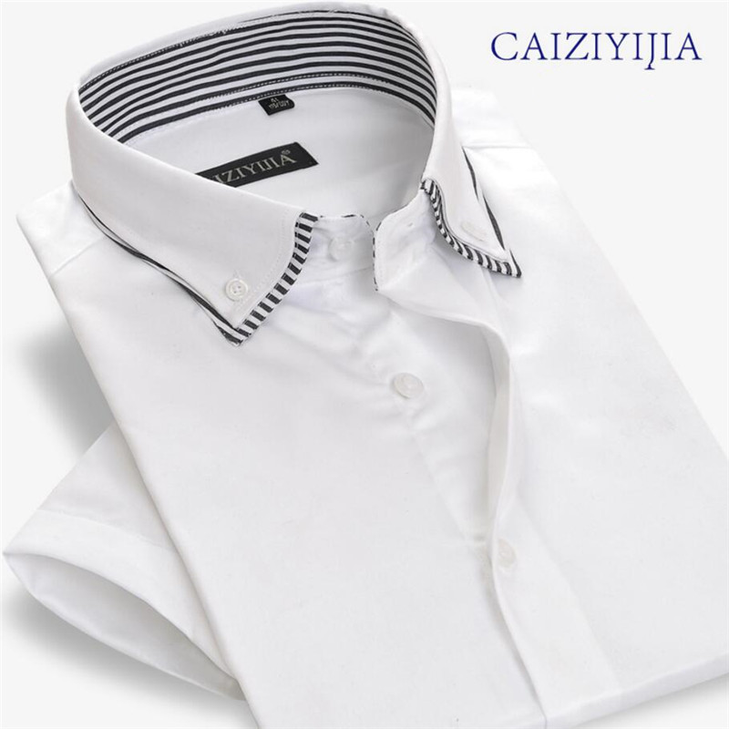 CAIZIYIJIA 100%Cotton Short Sleeve Business Casual Classic Men Shirt 4 Color MCZ95501 6 S 4XL