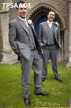 Groom Tuxedos notch lapel best man gray suit Groomsman men wedding / prom custom-made suits tailored suits(China)