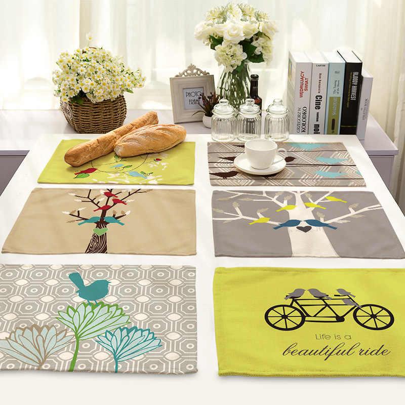 Nordic Simplicidade Placemat Pássaro Bicicleta Padrão Toalha De Mesa para Mesa De Jantar De Linho Retângulo Acessórios de Cozinha Eco