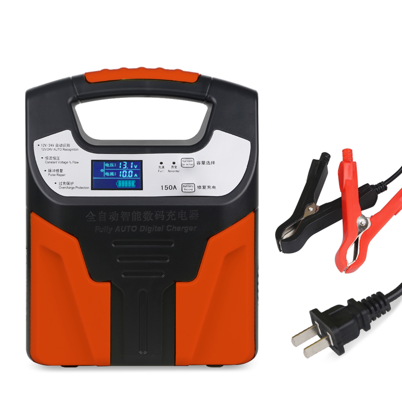 Chargeur de batterie de voiture automatique 12 v 24 V acide de plomb sec humide batterie d'alimentation rapide intelligente chargeant l'affichage automatique d'affichage à cristaux liquides de camion de moto