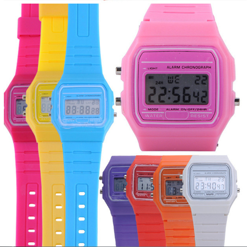 Fashion LED Watches Silicone Clock Wristwatch Multifunctional Ultra-thin Luminous Alarm Clock Children's Electronic Watch