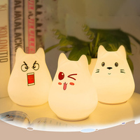 Colorful Silicon Cute Pet LED Night Light Touch Sensor Control USB Charge Decompression Pat Lights Baby