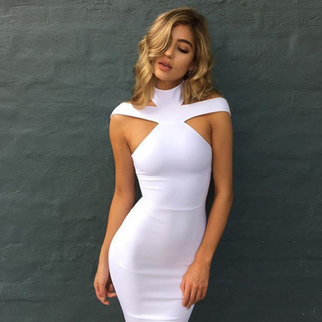 Hot New Women Fashion   Cocktail   Party   Dress   Sexy Backless Halter Cut Out Sleeveless Bodycon Bandage Midi Vestidos Female Clothes