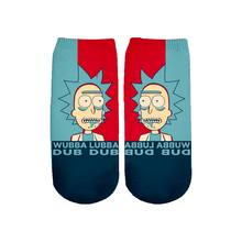 Rick and morty 3D Print Socks Women/men Ankle Socks Cartoon 3D Printing Sock fashion Socks for female 3d galaxy one side print crazy ankle socks