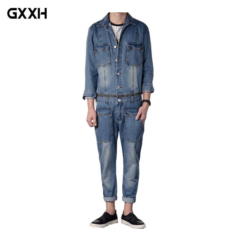 Гонконг прилив Для мужчин; джинсовый костюм японский ретро стиральная оснастки локомотив Комбинезоны Для мужчин джинсовая куртка костюм Д...