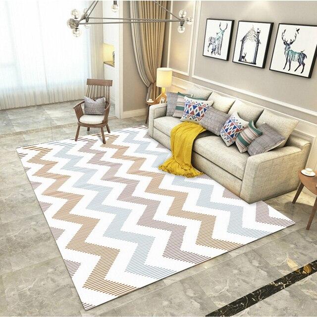 Fashion Modern Scandinavian Geometric Zigzag Chevron Wave Soft Floor Mat Bathroom Parlor Living Room Home Decor