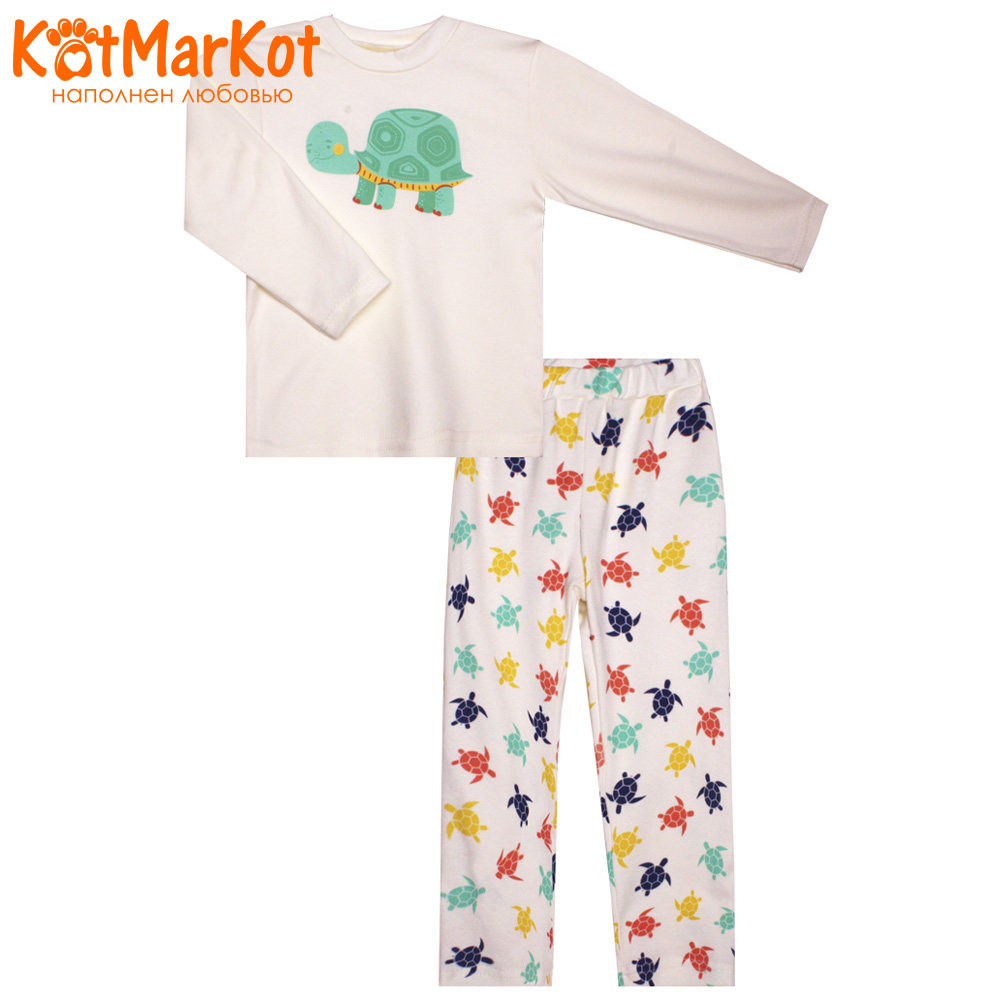 Pajama Sets Kotmarkot 10231 children's pajamas for boys and girls sleep t-shirt and shorts pajama pants Cotton Unisex shein kiddie toddler girls letter print jumpsuit and floral print pants and headband long sleeve casual suit for girl sets