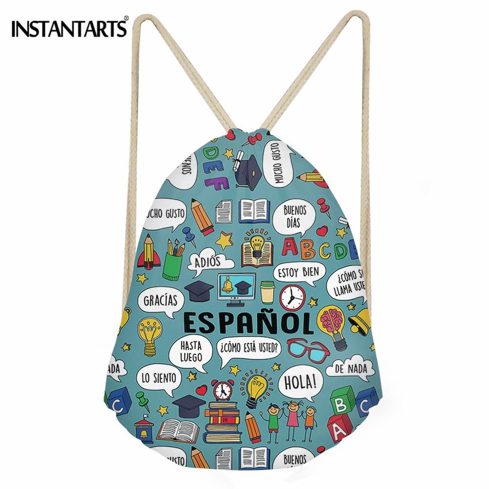 INSTANTARTS Stylish Polyester Drawstring Bag Spanish Teacher Printing Casual String Backpack Girl Boy Cinch Sack Kids School Bag