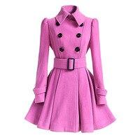 Winter Woolen Coat Pink Windbreaker Multicolor Women Bandage Top Wool Blend Girls Dress Jacket Thick Double Breasted Ladies Tops