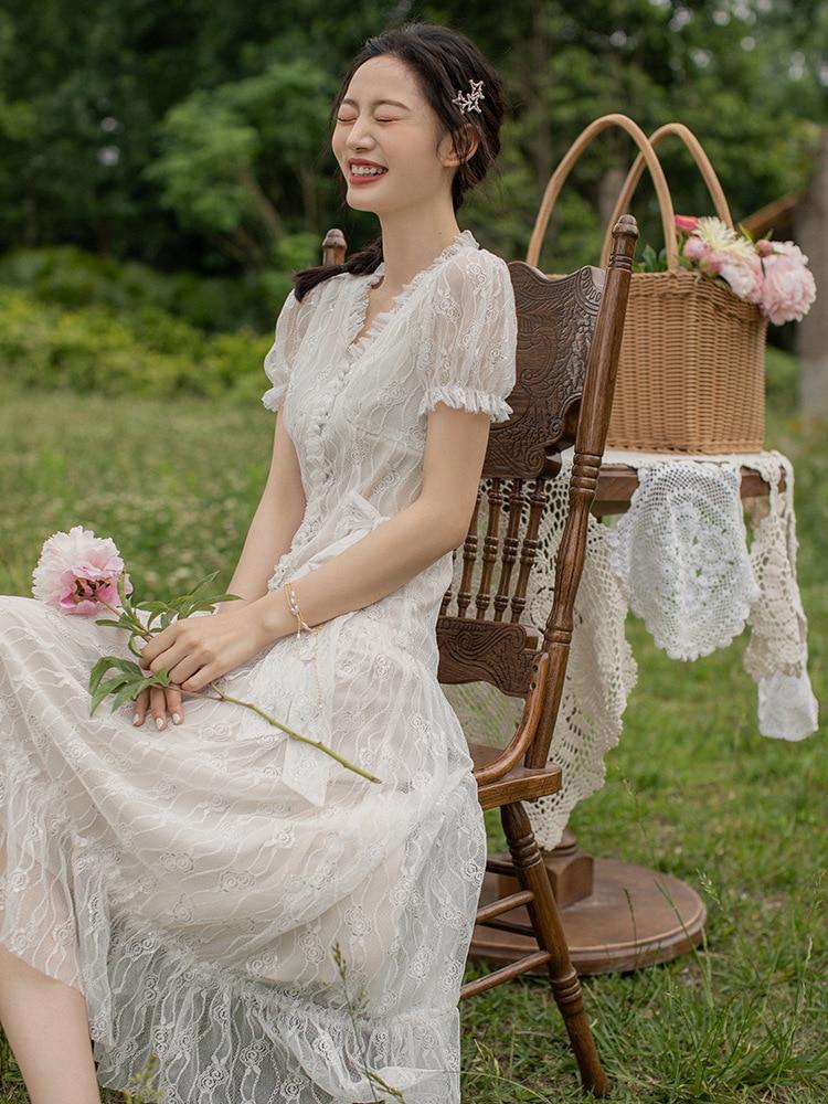 Ubei Sommer weiß spitze lange kleid Französisch Victoria kleine taille abnehmen kleid süße super fee temperament fee kleid-in Kleider aus Damenbekleidung bei  Gruppe 3