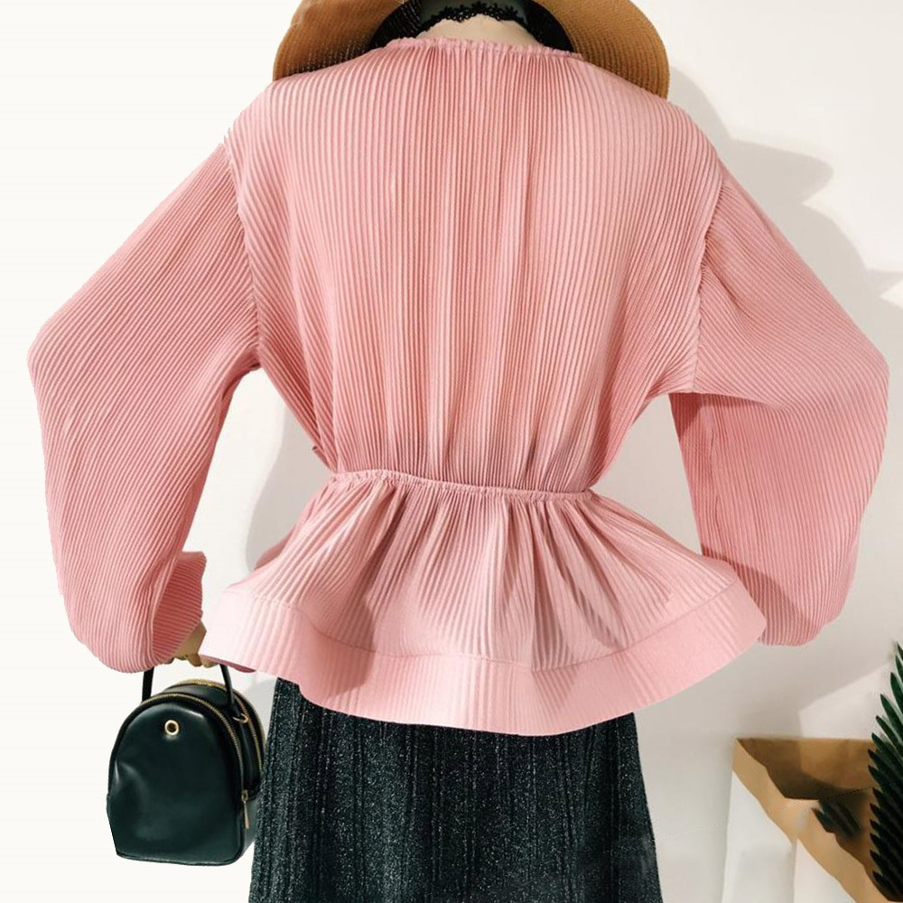 White Fairy Blouse Top Long Sleeve Women Autumn 2019 Korean Lantern Sleeve Waist Slim Bandage Bow High Street Ruffle Girls Shirt in Blouses amp Shirts from Women 39 s Clothing